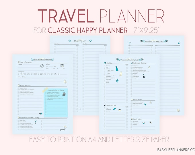 Travel Planner Happy Planner Printable Happy Planner Inserts 7 x 9 Vacation Planner