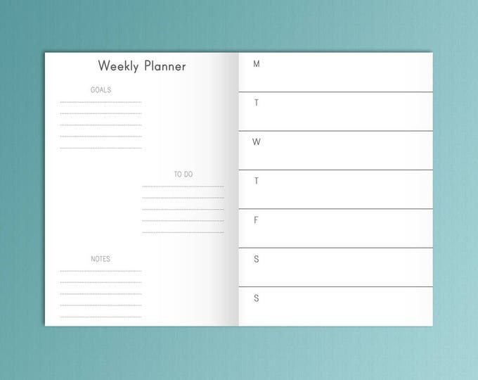 B6 Inserts TN Weekly Planner Inserts B6 Travelers Notebook Fits Foxy Fix 5 Refills Weekly Goals To Do Printable Weekly B6 tn Insert 5x7
