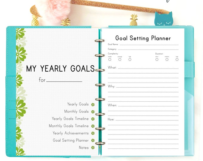 Half Size Planner, Productivity Planner, Goals Tracker, Discbound Printable