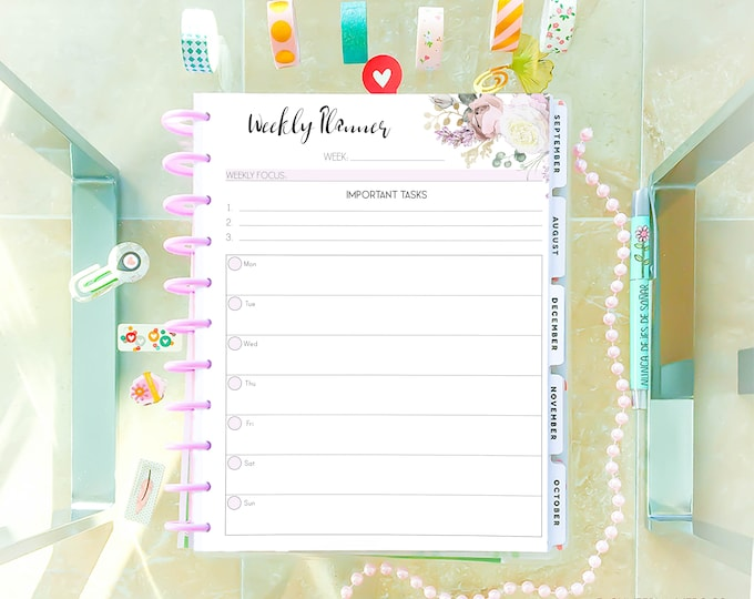 Weekly Planner Pages, made to fit Big Happy Planner Inserts, Printable Floral Planner