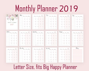 Wall Calendar 2019 Printable Letter Size Desk Calendar Floral Etsy