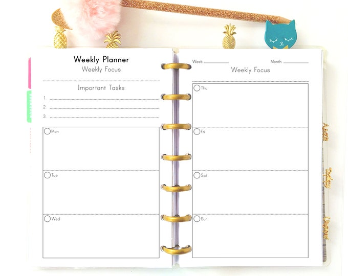 Week on Two Pages, Weekly Planner Pages, fits Mini Happy Planner.