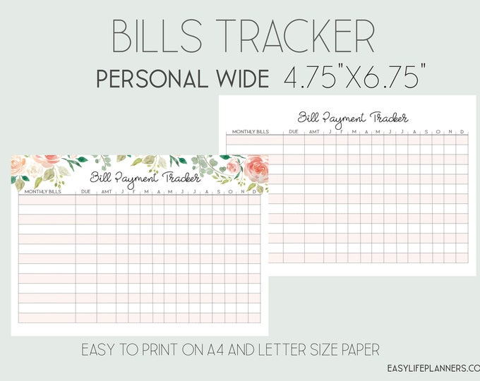 Bills Organizer Personal Wide Rings, Budget planner Printable, Personal Wide Printable.