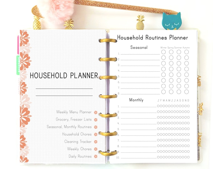 Household Binder Printable made to fit Mini Happy Planner Inserts, cleaning checklist, weekly cleaning