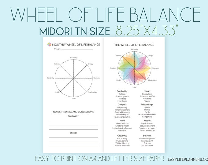 Midori TN Insert, Printable Travelers Notebook Inserts, Life balance Wheel