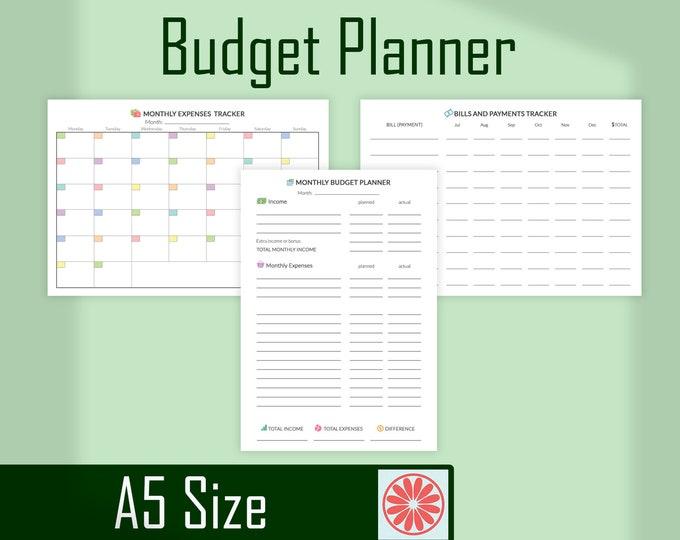 Budget Planner Filofax Refills Expense Tracker Financial Planner Filofax Inserts A5 Printable