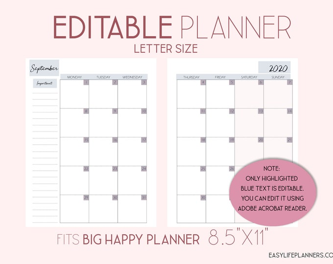 Featured listing image: Editable Planner, 2020 Monthly Planner Pages, Monthly Layout made to fit Big Happy Planner Template