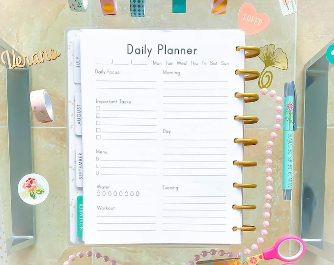 Daily Planner Pages, Daily Planner 2020 Made to Fit Erin Condren Insert and Happy Planner Refills