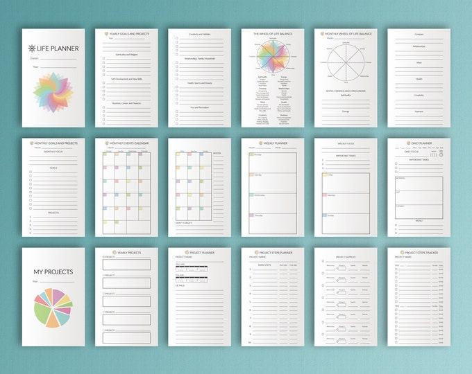 Field Notes Inserts  3.5x5.5 Bullet Journal Printable Life Planner Fits FoxyFix 2 Travelers Notebook Inserts Field Note Instant Download PDF