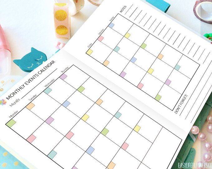 A6 Inserts TN Monthly Planner A6 Travelers Notebook Inserts Month on 2 Pages Bullet Journal Bujo Undated Printable MO2P PDF Instant Download