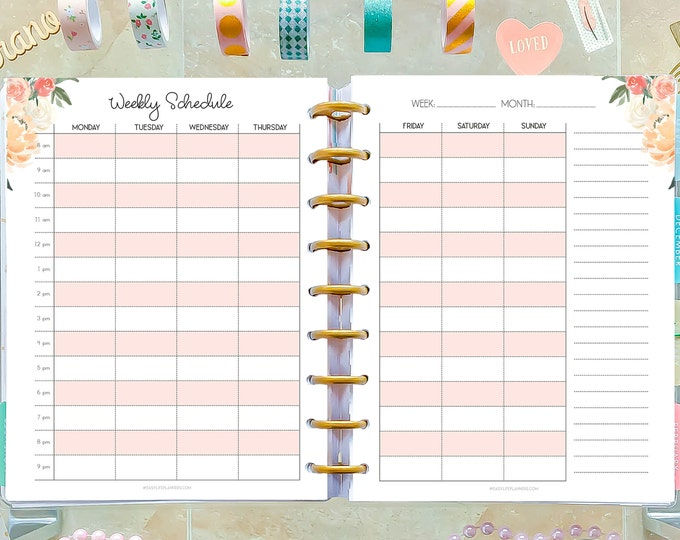 Weekly Hourly Planner, made to fit Happy Planner Inserts Printable, Weekly Agenda.