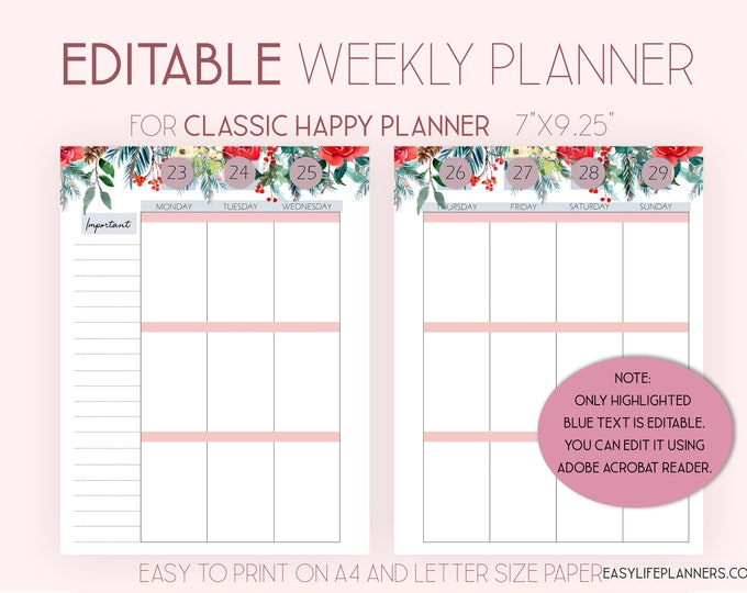 Editable Planner 2020 Weekly Planner Pages made to fit Happy Planner Template