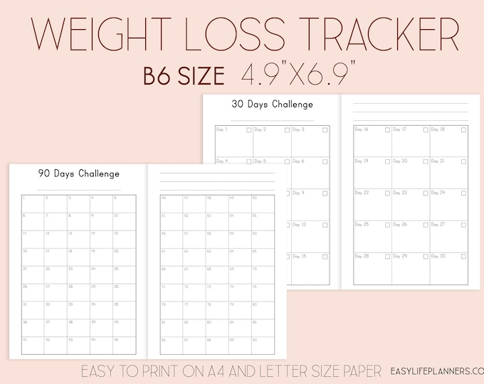 Weight Loss Tracker B6 TN Inserts Printable, Travelers Notebook Insert, Habit Tracker