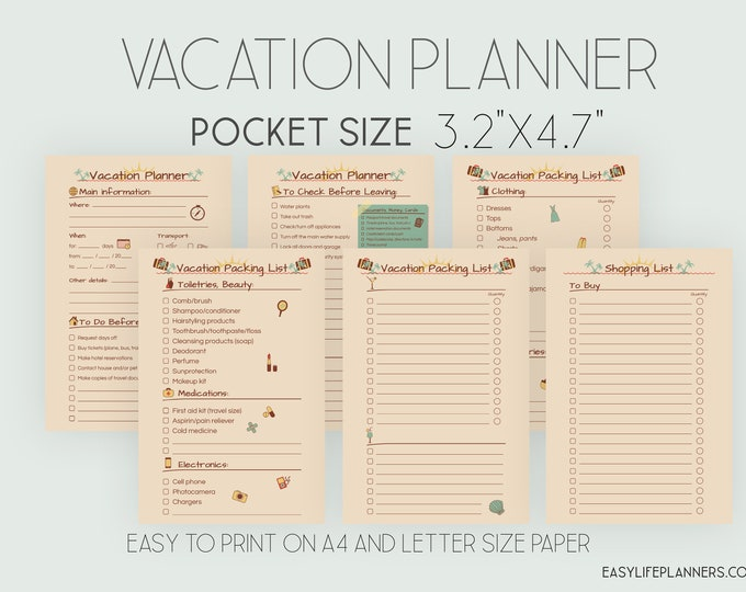 Trip Planner, Pocket Size Insert, Pocket Ring Planner, Printable.