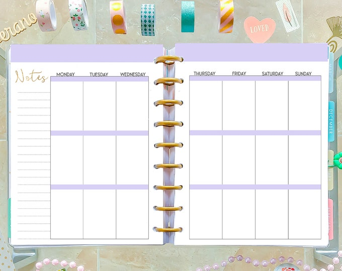 Weekly Agenda made to fit Happy Planner Inserts Printable Weekly Planner Pages WO2P