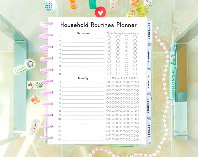 Cleaning List, Letter Size Planner, Big Happy Planner Printable, Household Binder