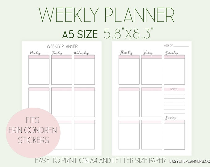 Weekly Planner Pages, A5 Weekly Insert, Full Box Planner, Weekly Agenda Printable,