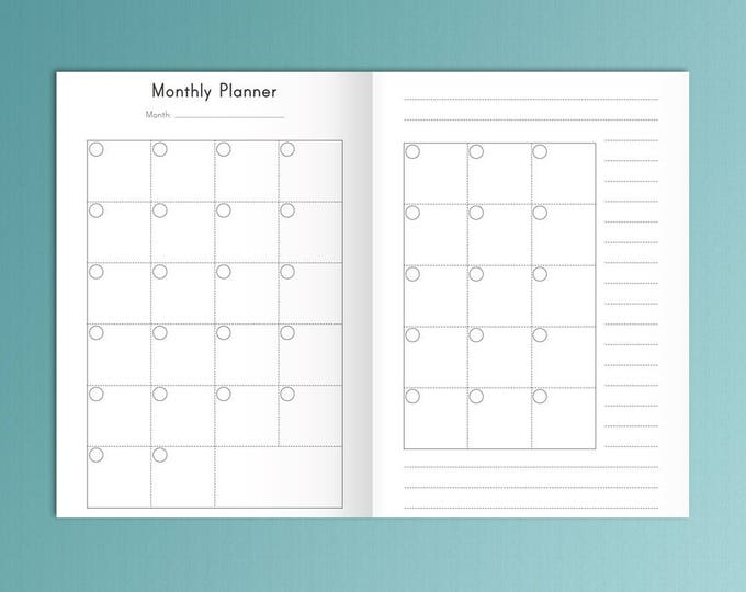 TN Inserts Printable B6 Printable Inserts Monthly Planner 2020
