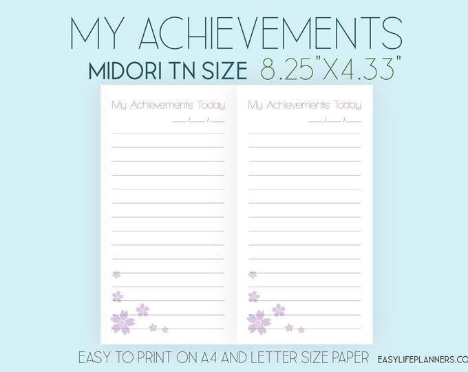 Midori TN Insert, Midori Printable, My Achievements
