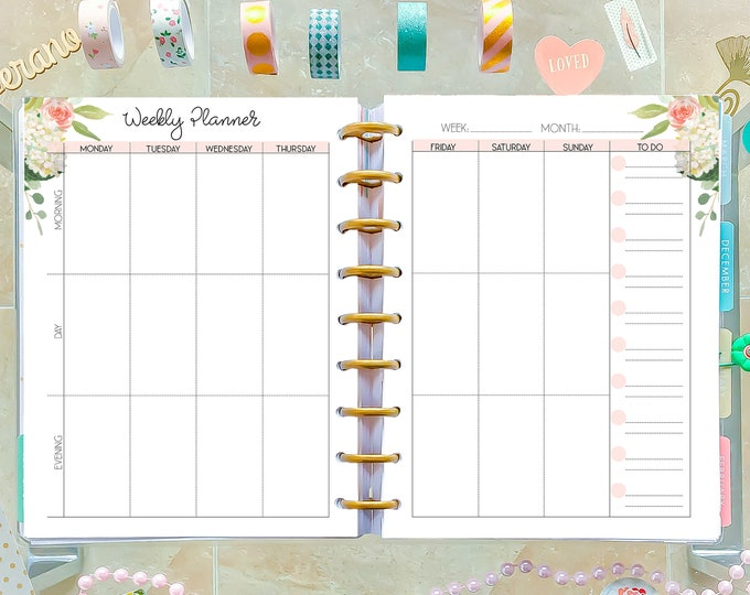 Vertical Weekly Planner Pages, made to fit Happy Planner Inserts Printable, Weekly Agenda, WO2P