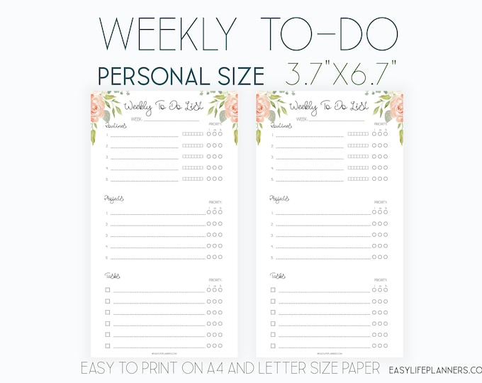 Weekly Organizer, Wo2p Personal Filofax Inserts, Weekly To Do List Printable