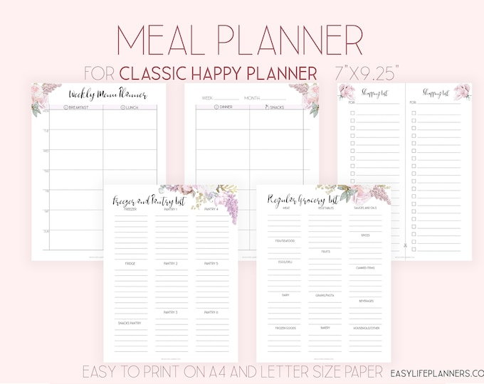 Weekly Meal Planner Printable Grocery List made to fit Happy Planner Insert