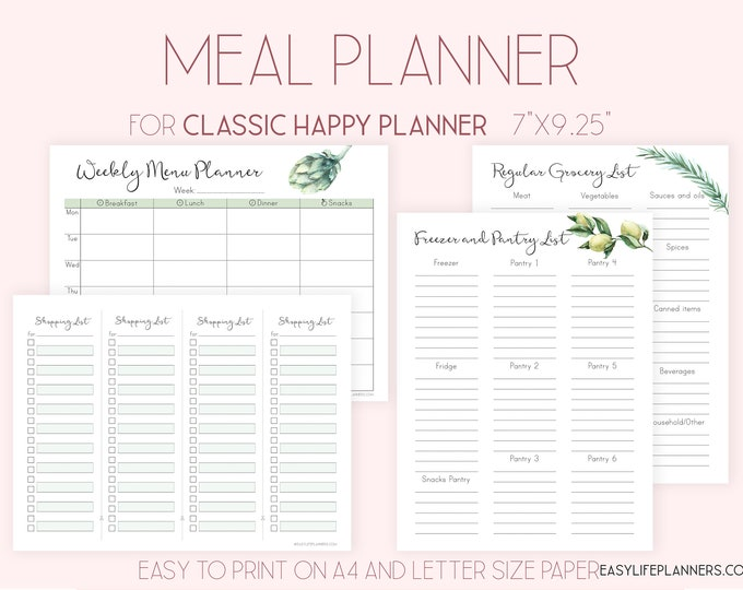 Weekly Meal Plan, Meal Planner made to fit Happy Planner Printable Insert and Erin Condren Insert