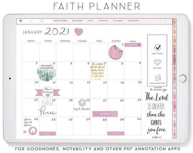 Faith Planner, Sermot Notes, Notability Planner, xodo digital planner, GoodnotesTemplate, iPad Planner, Devotional planner