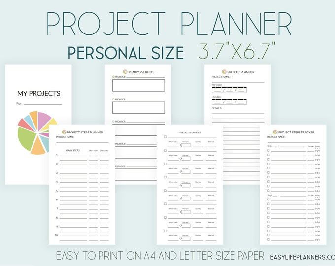 Project Planner Filofax Personal Size Planner Inserts, Productivity Planner