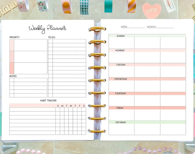 Weekly Planner Pages made to fit Happy Planner Inserts Printable, Weekly Agenda, WO2P Inserts