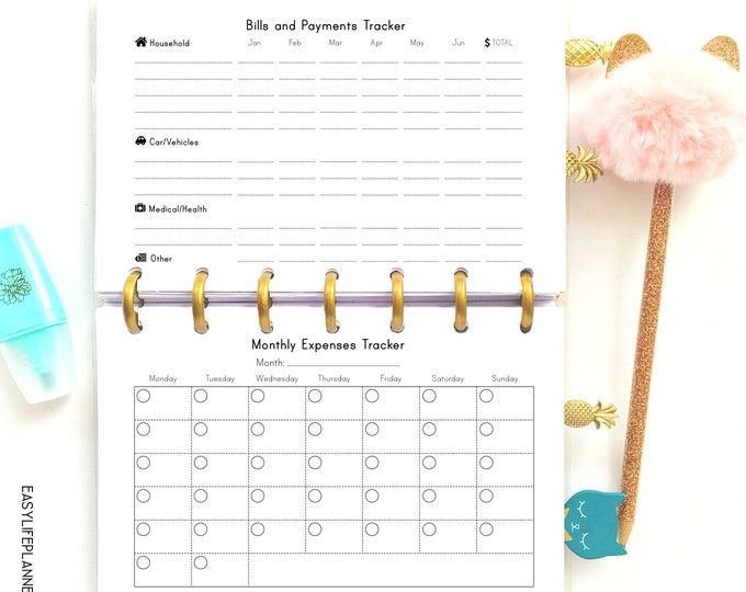 Bill Tracker, Budget Planner Printable made to fit Mini Happy Planner Inserts