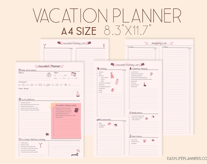 Vacation Planner, Travel Planner Printable, Trip Planner, Packing list.