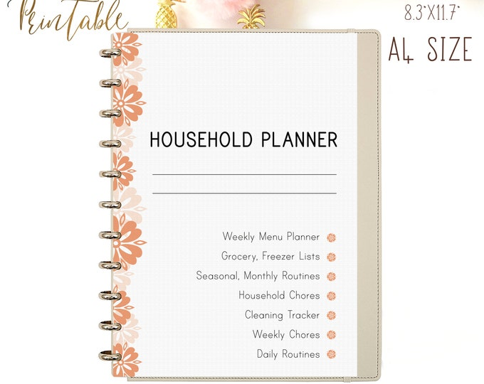 HOUSEHOLD Binder, Home Management, Mom Planner, Cleaning Checklist Printable Planner.