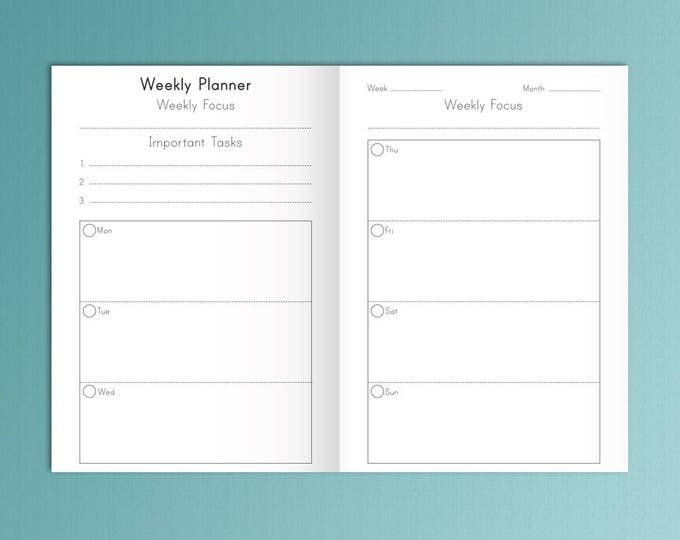 B6 Printable inserts Weekly Planner 2020, B6 TN Inserts