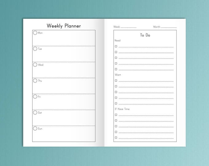 Weekly Planner Field Notes Bullet Journal Horizontal Layout Pocket Size Travelers Notebook Inserts 3.5x5.5 Printable Planner Inserts PDF