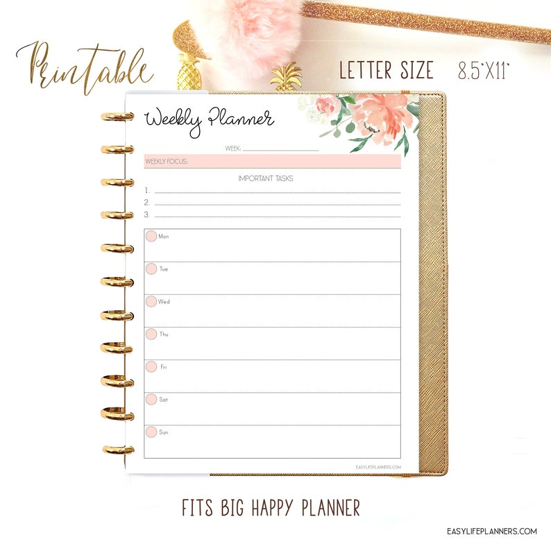 Weekly Planner Pages Big Happy Planner Inserts Weekly image 0