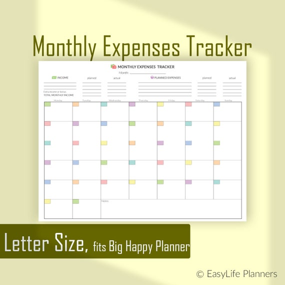 monthly expenses tracker letter size planner finance planner etsy
