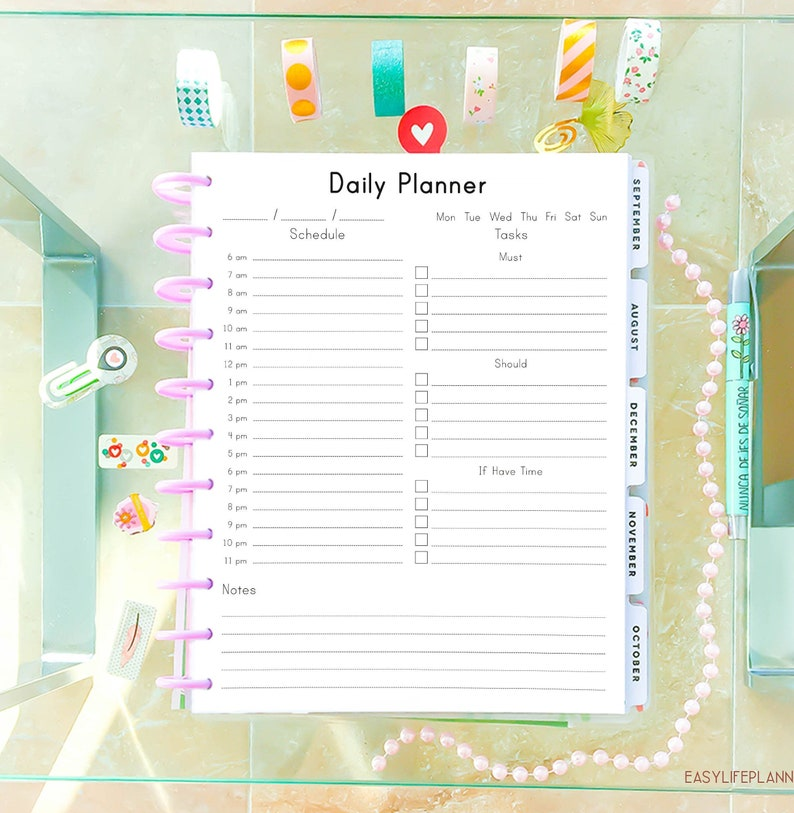 graphic regarding Daily Agenda called Everyday PLANNER Printable Letter Dimension 8.5 x 11 Huge Delighted Planner Day by day Plan, PDF Year Planner, Toward Do Drinking water List. Quick Down load