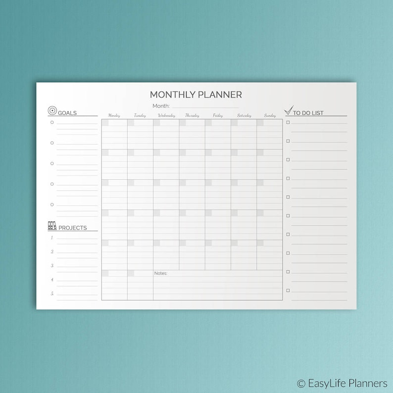 A3 Desk Planner Printable Monthly Planner Wall Calendar Family image 0