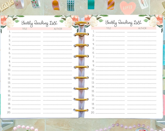 Reading Journal made to fit Happy Planner Inserts Printable, Reading Log Printable