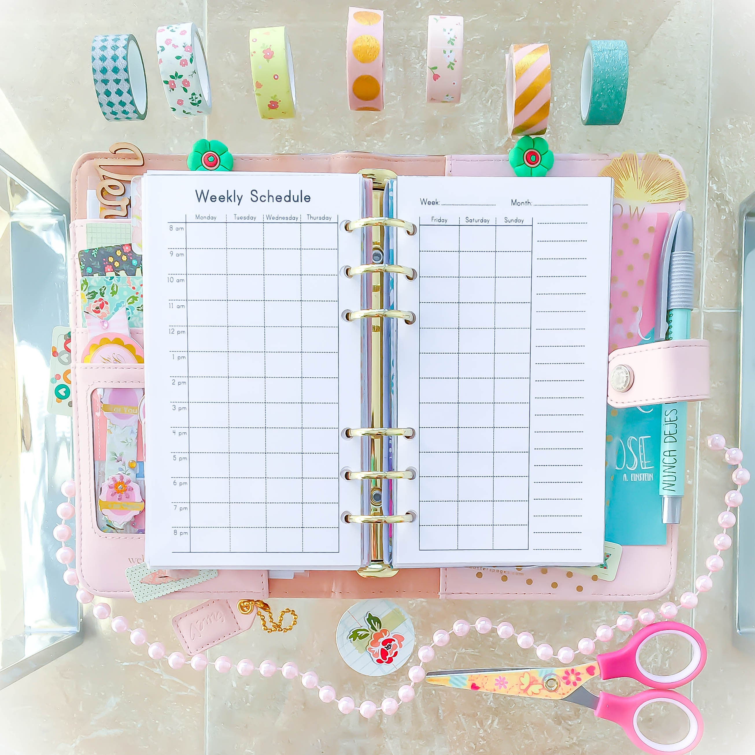 WEEKLY SCHEDULE Personal Size Filofax PDF 3 7x6 7 inches Weekly