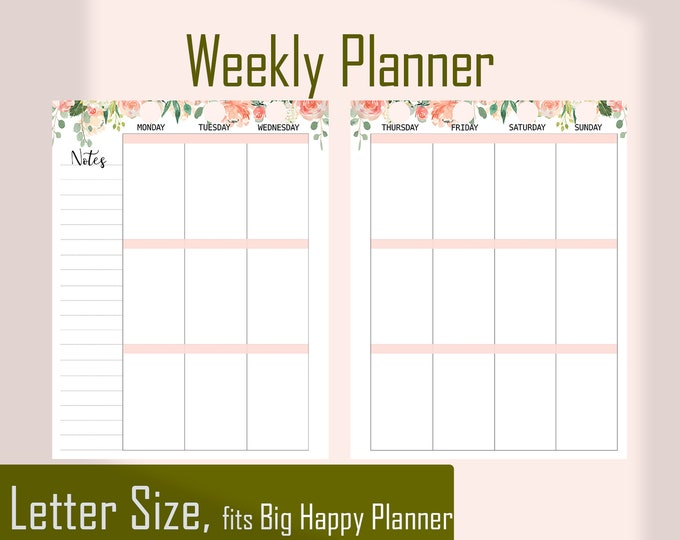 Weekly Planner Pages, Weekly Agenda for Big Happy Planner Inserts Printable.