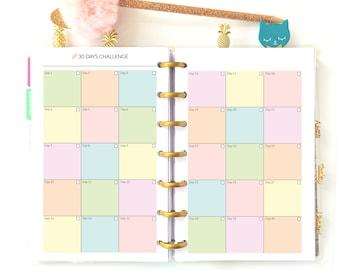 "Mini Happy Planner Insert Habit Tracker Fitness Planner Challenge Printable Daily Habits Tracker Happy Planner Refills 4.6""x7"" PDF"