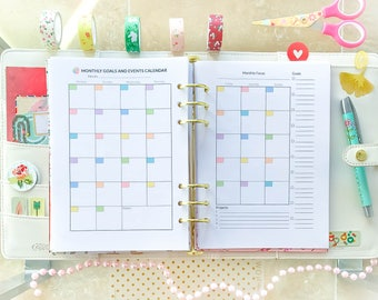 A5 Planner Inserts Monthly Planner Printable PDF Monthly Organizer Month On 2 Pages A5 Filofax Monthly Refills 5.8 x 8.3 Instant Download