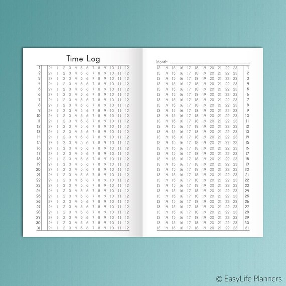 Tn Pocket Size Time Log Field Notes Size Habit Tracker 35 X Etsy