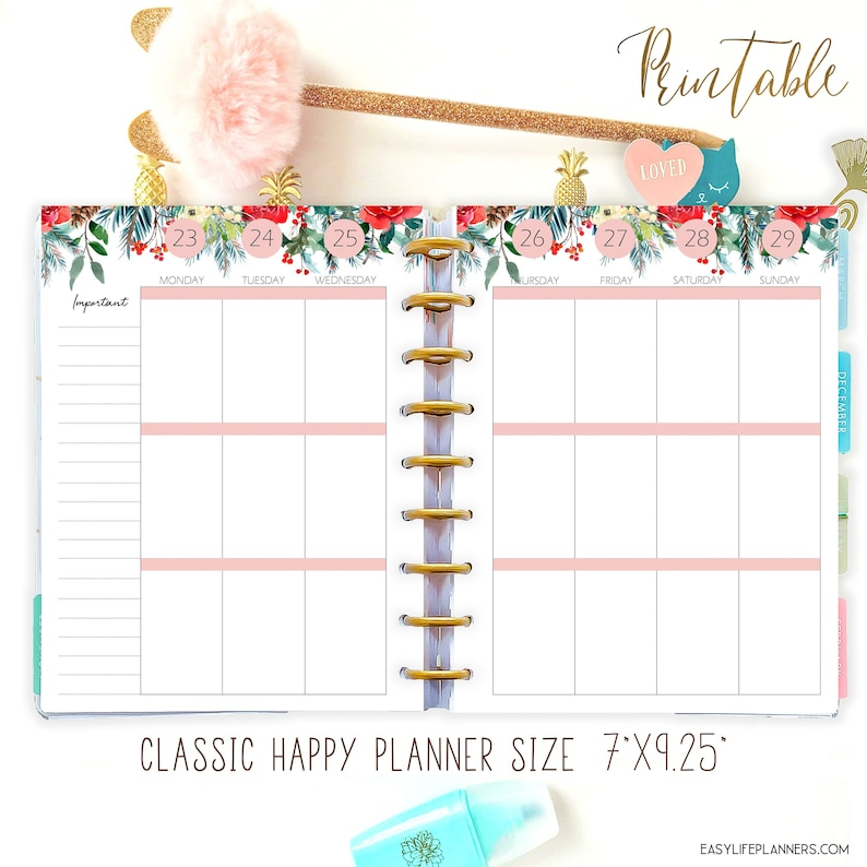 Editable Planner 2022 Weekly Planner Pages made to fit Happy image 0