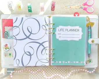 Life Planner A5 Printable Filofax Inserts Colorful PDF Daily Weekly Monthly Yearly Organizer, Menu Planner Project Planner.