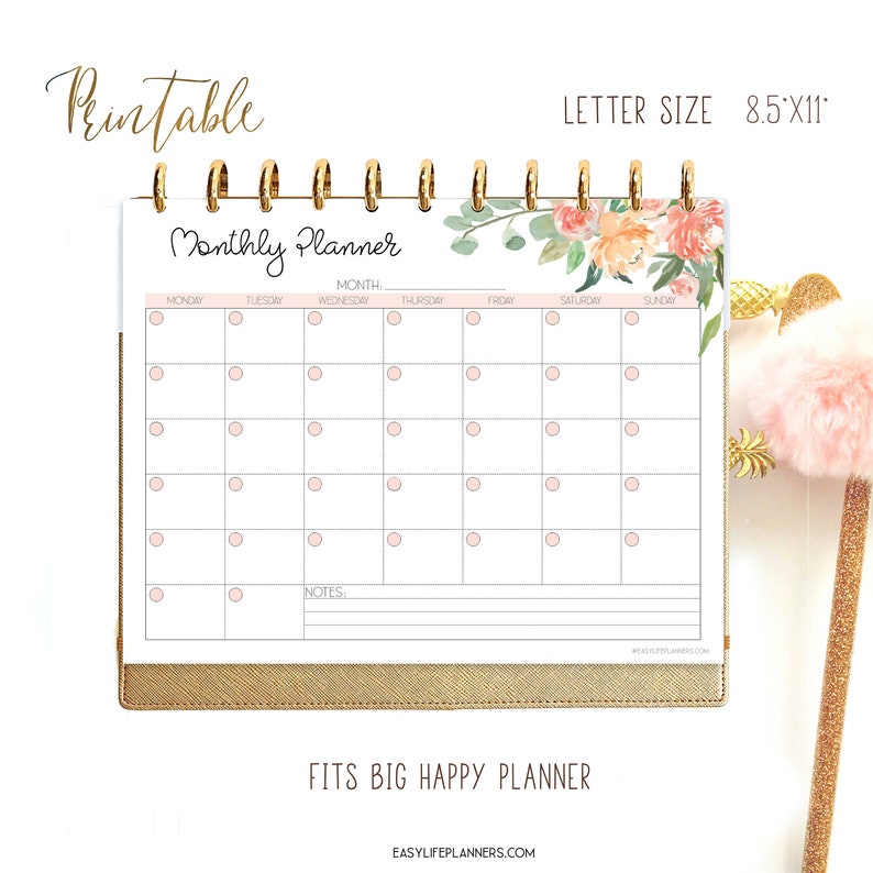 Monthly Planner Printable Kit Big Happy Planner Inserts image 0
