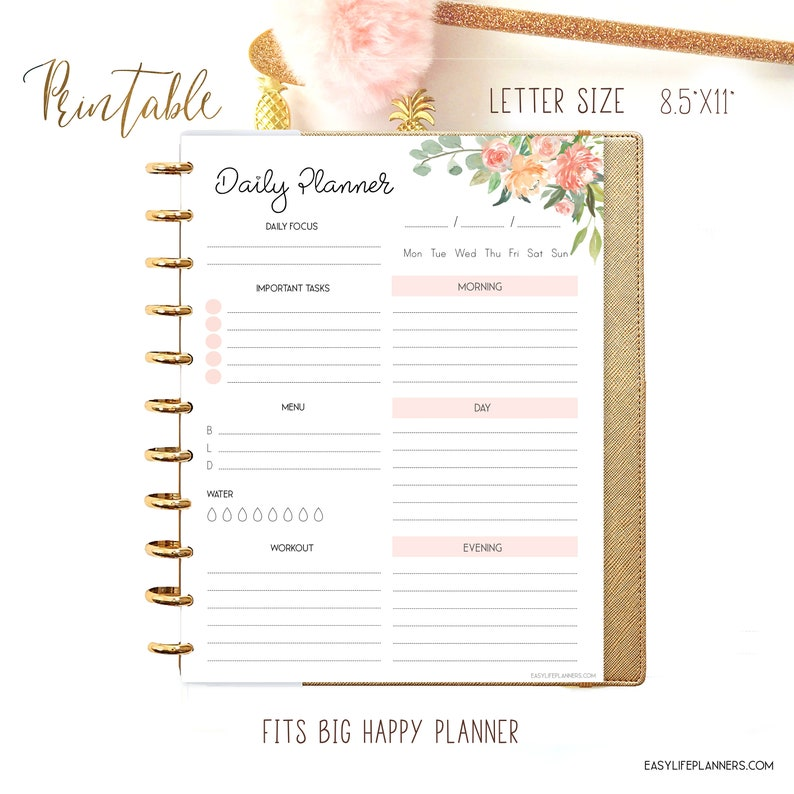 Printable Daily Planner Pages Floral Planner Big Happy image 0
