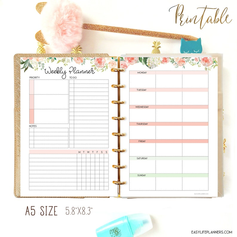Weekly Planner A5 Planner Insert Productivity Planner Weekly image 0